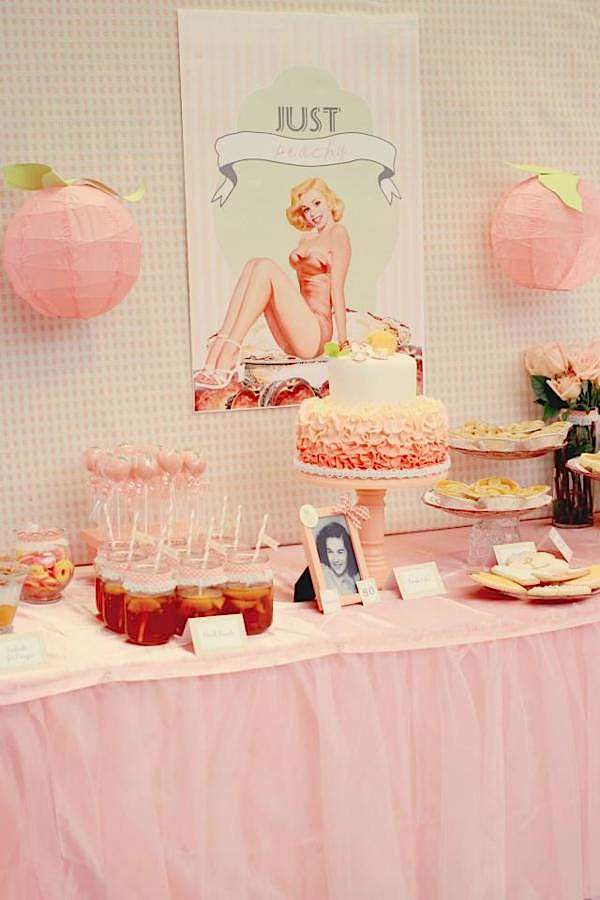 Karas Party Ideas Peaches And Pin Ups Pinups 80th Birthday