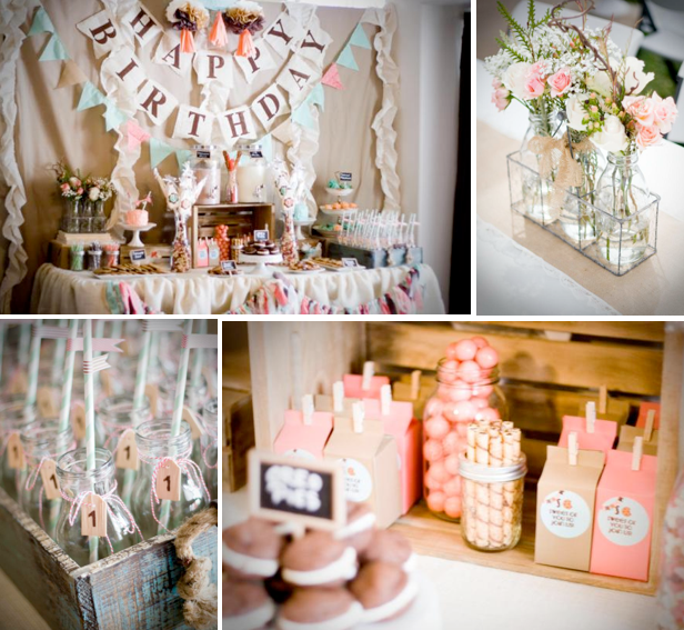Karas Party Ideas Cookies And Milk Vintage Shabby Chic 1st