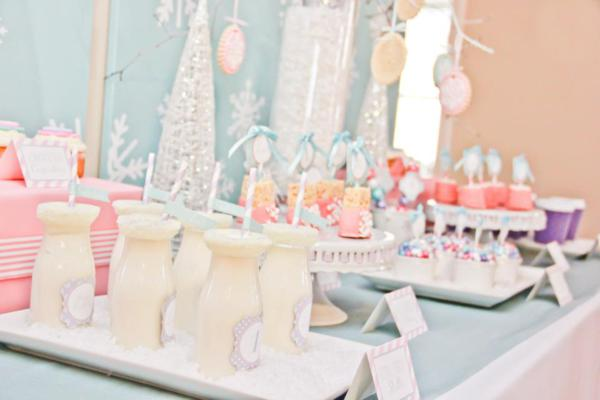 Kara S Party Ideas Winter Wonderland Girl Snow 1st Birthday Party Planning Ideas