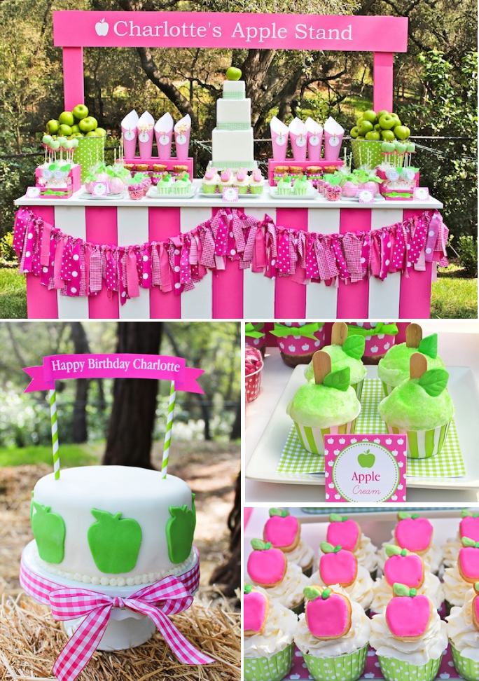Kara's Party Ideas Apple of My Eye Girl Pink Green Fruit ...