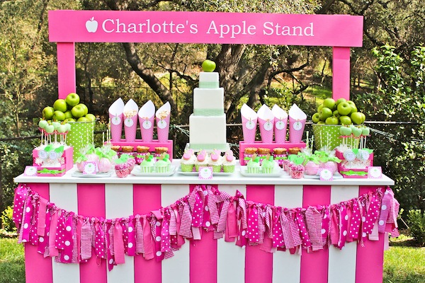 Karas Party Ideas Apple Of My Eye Girl Pink Green Fruit