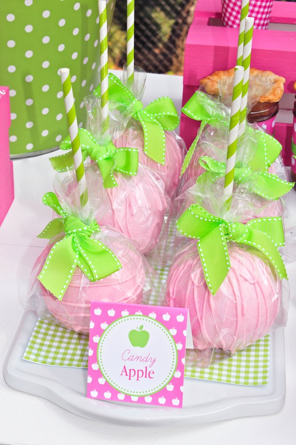 Karas Party Ideas Apple Of My Eye Girl Pink Green Fruit Birthday