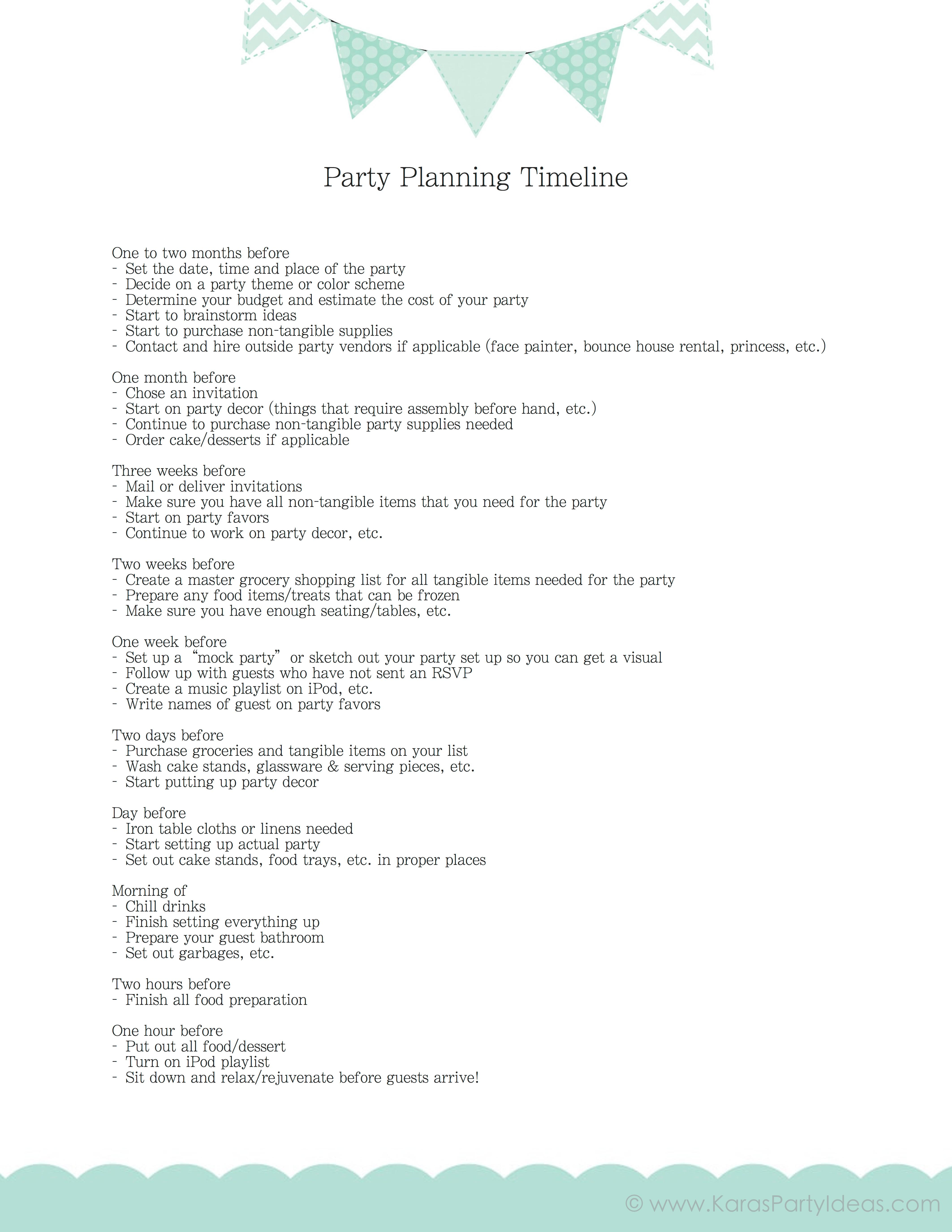 kara s party ideas free download party planning timeline mini