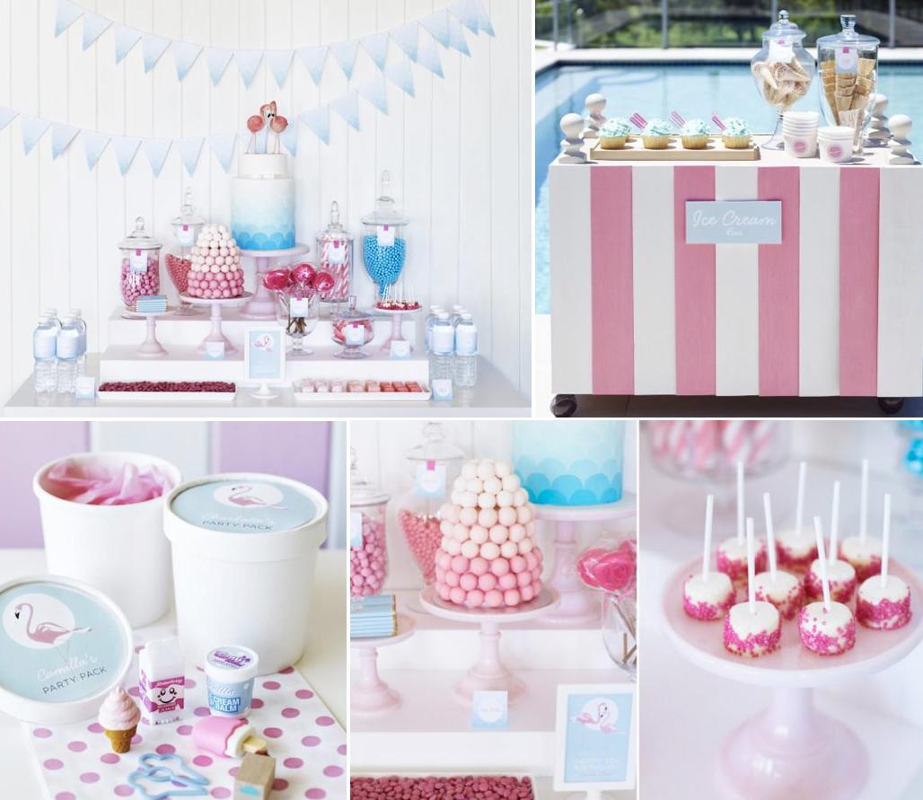 Pink And Blue Flamingo Birthday Party: Kara's Party Ideas Retro Pink Flamingo Girl Birthday