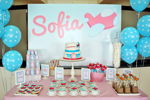 Karas Party Ideas Girly Airline Airplane Plane Themed 5th Birthday