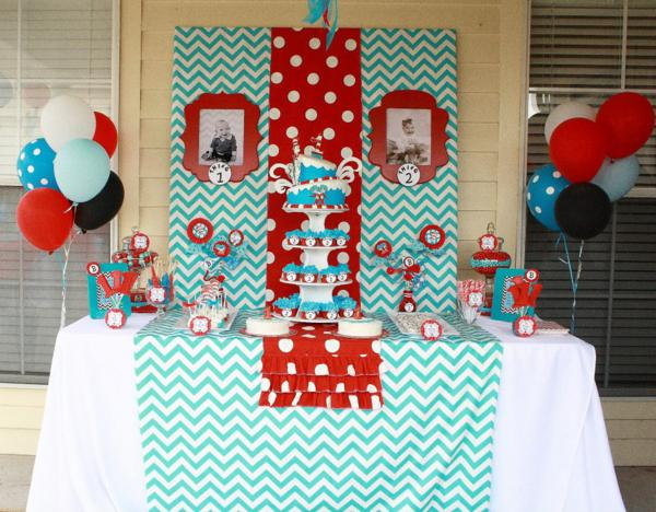 Kara S Party Ideas Thing One Thing Two Dr Seuss Twins 1st Birthday