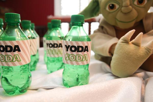 21 x YODA SODA STAR WARS LABELS FUNNY STICKERS DRINKS BOTTLE KIDS PARTY