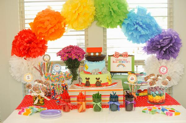 Kara S Party Ideas Noah S Ark Animal Rainbow Twins