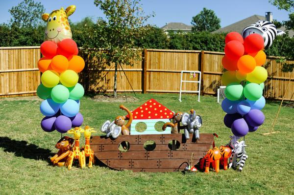 Kara S Party Ideas Noah S Ark Animal Rainbow Twins
