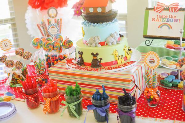kara s party ideas noah s ark animal rainbow twins birthday party