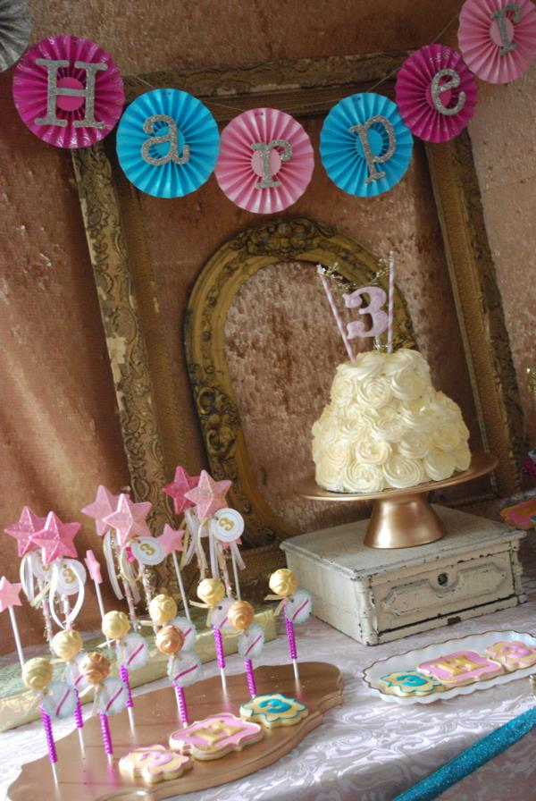 Kara S Party Ideas Glittery Sparkly Glam Golden Girl 3rd