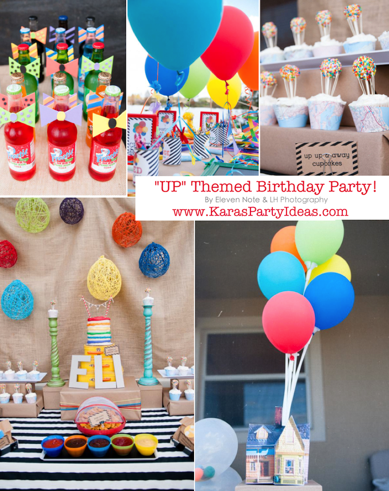 Disney's UP themed birthday party via Kara's Party Ideas | KarasPartyIdeas.com #up #themed #birthday #party #planning #ideas #cake #disney #decor #supplies #shop #idea