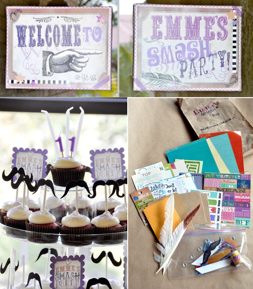 SMASH themed Scrapbooking birthday party via Kara's Party Ideas KarasPartyIdeas.com #scrapbooking #party #ideas #get #together #girls #night #birthday #theme #supplies #shop #idea