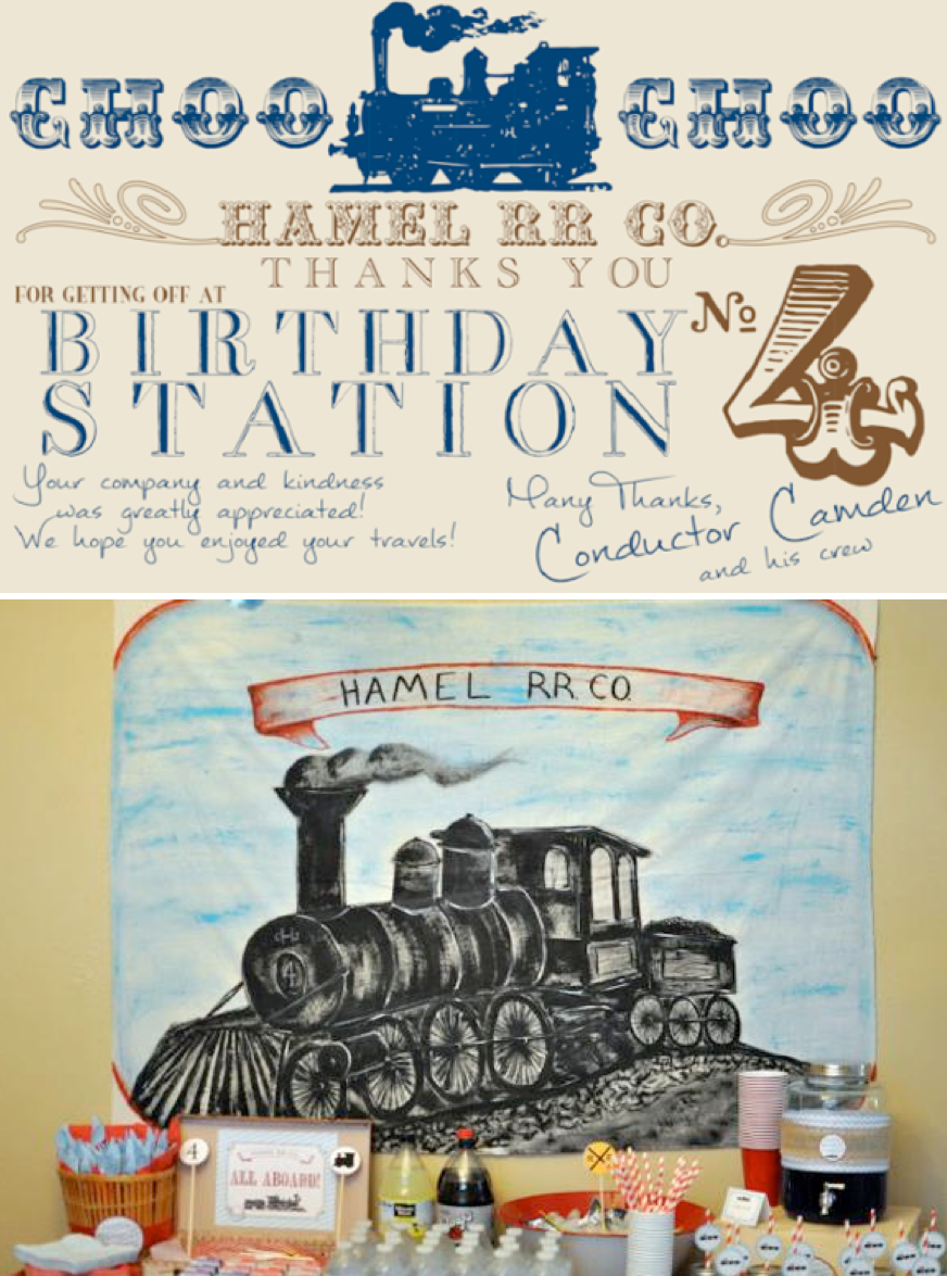 Vintage Train themed birthday party via Kara's Party Ideas | KarasPartyIdeas.com #train #themed #vintage #birthday #party #ideas #cake #favors #supplies #idea