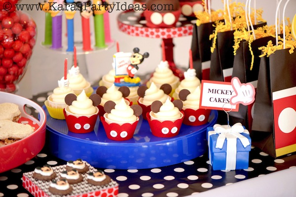 Mickey Mouse Cupcake ideas at a Mickey Party via Kara's Party Ideas KArasPartyIdeas.com #mickey #mouse #party #ideas #favors #cupcakes #supplies