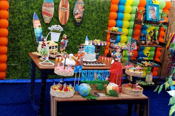 Luau + Surf themed birthday party FULL of ideas! Via Kara's Party Ideas | KarasPartyIdeas.com #summer #pool #luau #surfing #party #themed #idea #cake #supplies #decor #food #desserts (13)
