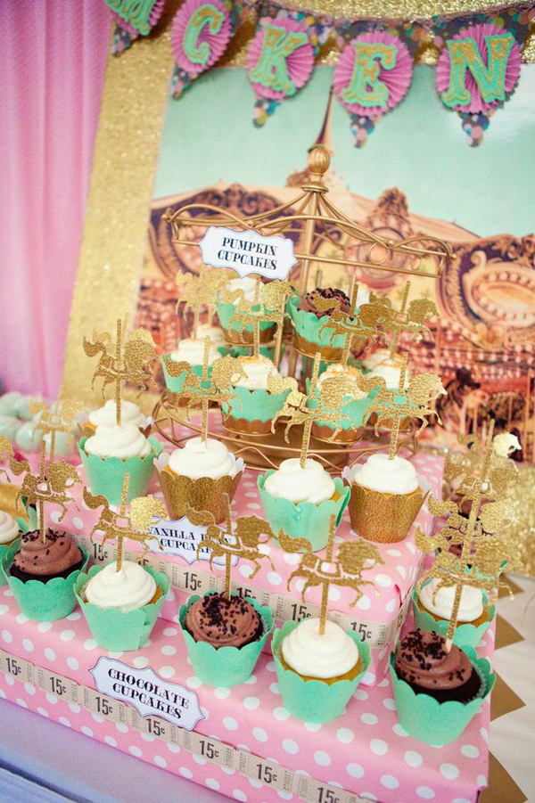 Kara S Party Ideas Carousel Cupcake Themed Birthday Party