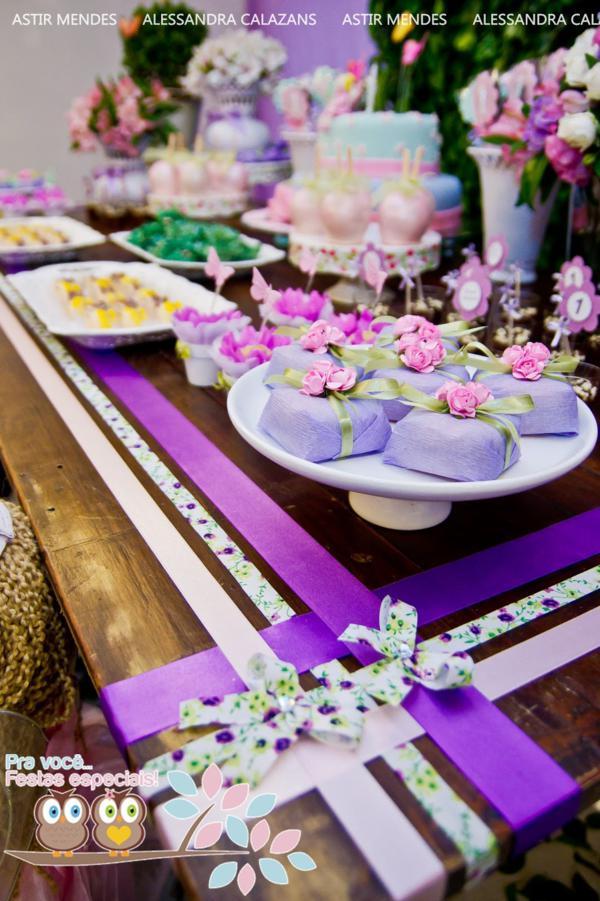 Lilac Themed Wedding Cake
