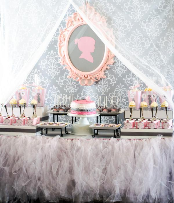 Karas Party Ideas Pink Gray Princess Girl Themed Baby Shower Party