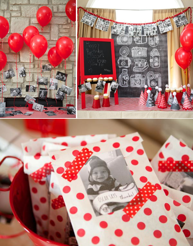 INSTAGRAM THEMED PARTY! A year in an instant! So many cute ideas! Via Kara's Party Ideas KarasPartyIdeas.com #instagram #party #ideas #first #birthday #year #decor #supplies #cake #red #black #white