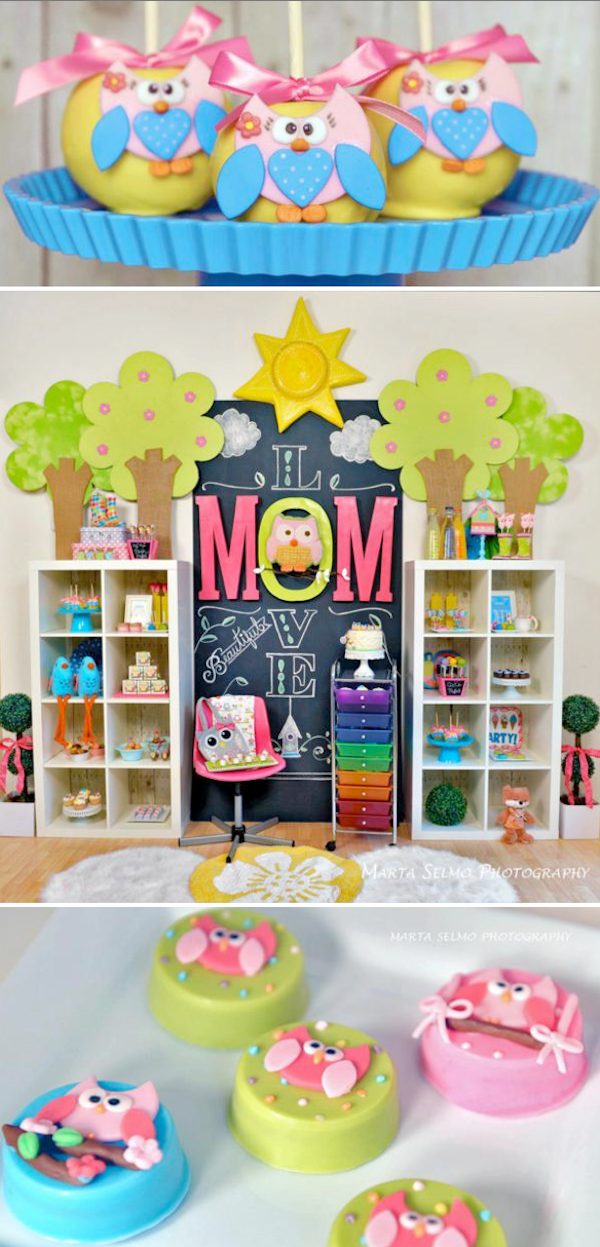 Mama OWL THEMED BIRTHDAY PARTY with so many CUTE ideas! Cute Mother's day party, too! Via Kara's Party Ideas KarasPartyIdeas.com #owl #birthday #party #theme #cake #idea #decorations #supplies #ideas