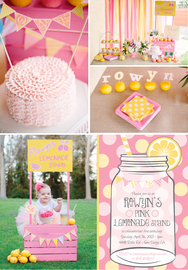 Pink lemonade stand themed birthday party with SUCH CUTE ideas!! Via Kara's Party Ideas KarasPartyIDeas.com #lemonade #pink #girly #birthday #party #1st #stand #supplies #cake #cupcakes #idea #ideas