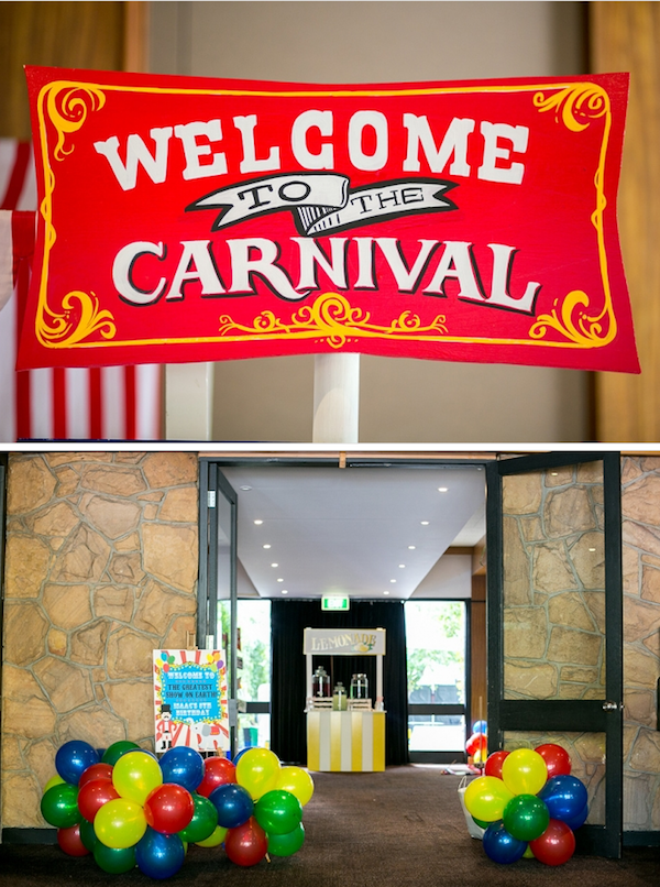 Big Top Circus Carnival themed birthday party FULL OF IDEAS! Via Kara's Party Ideas KarasPartyIdeas.com #circus #carnival #fair #birthday #party #supplies #ideas #decor #idea (18)