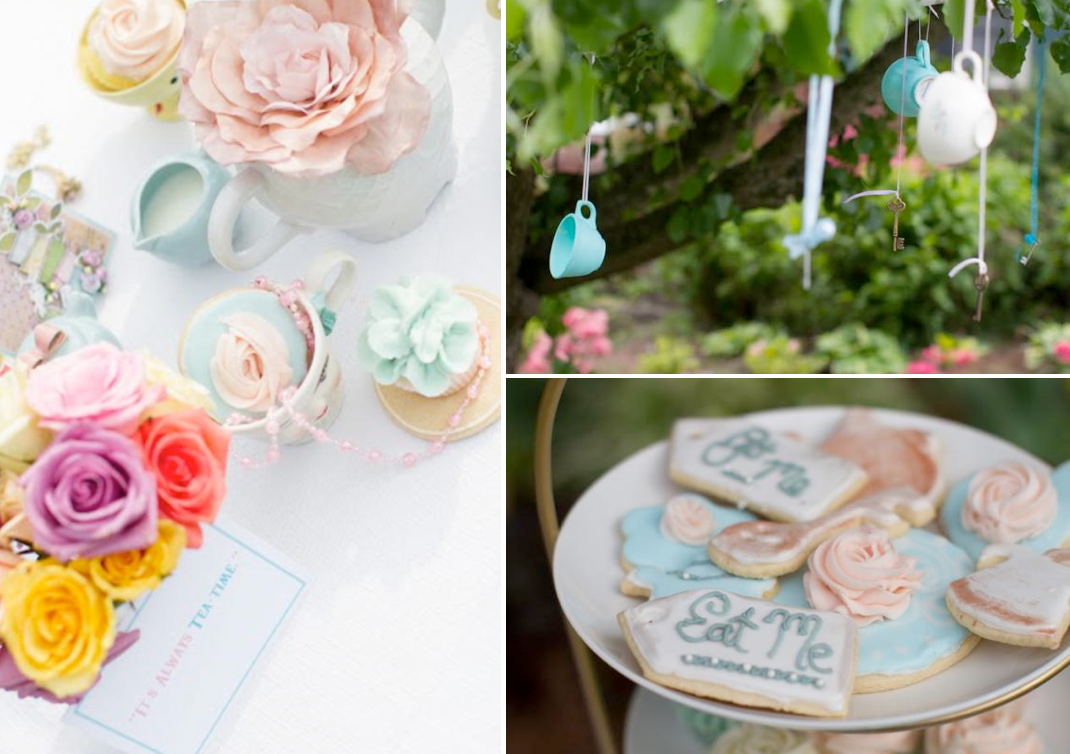 Vintage Alice In Wonderland Tea Party with TONS of ideas! Via Kara's Party Ideas KarasPartyIdeas.com #alice #wonderland #tea #party #idea #decorations
