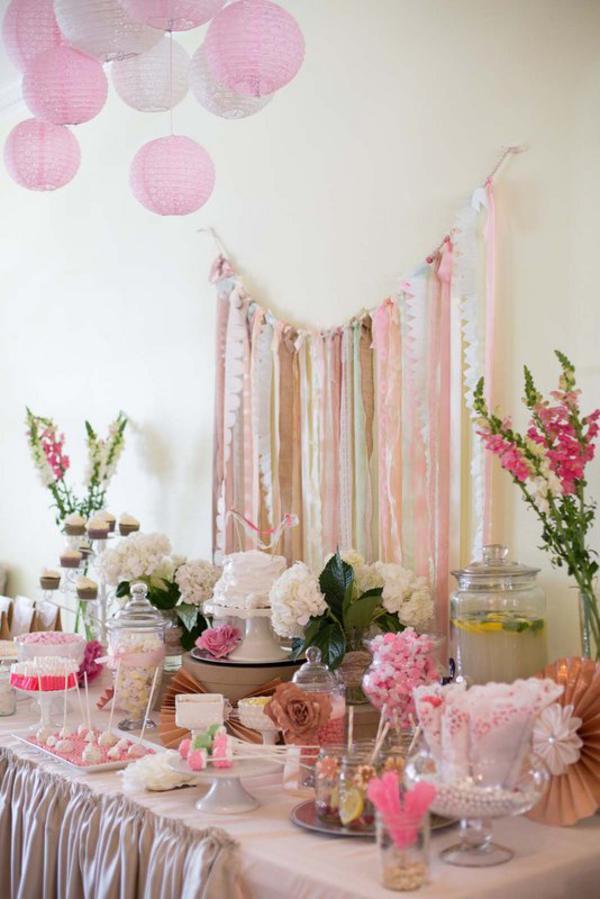 Kara 39 s party ideas shabby chic lace birthday party - Mesa shabby chic ...