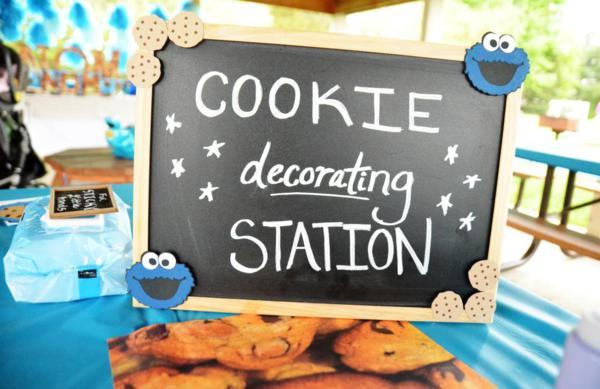 Kara S Party Ideas Chic Girl Blue Diy Cookie Monster