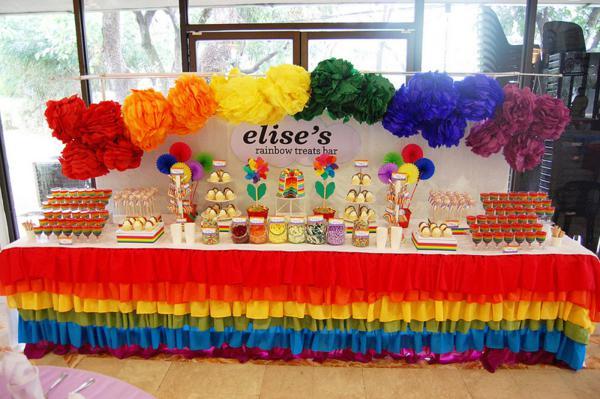 girls rainbow birthday party