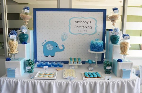 Karas Party Ideas Blue Elephant Boy Christening Baptism Party