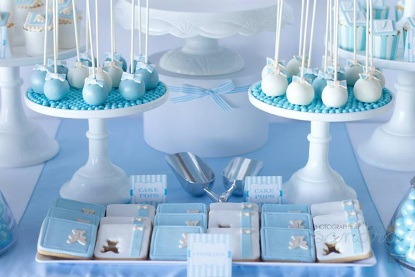 Kara 39 s party ideas blue christening 1st birthday party for Baby dedication decoration ideas