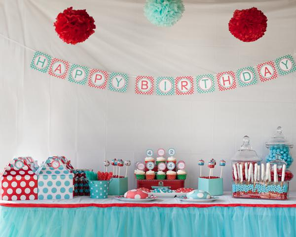 Aqua and Red Polka Dot Party via Kara's Party Ideas | KarasPartyIdeas.com #red #aqua #polka #dot #party #ideas (23)
